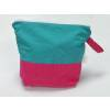 Spinderella - Zippered Project Bag, Turquoise Pink Polka-dots