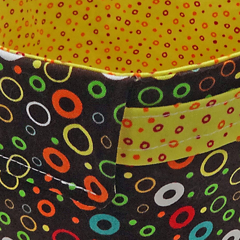 Spinderella - Bucket Bag, Mutli-colored Circles, Brown, Yellow - Click Image to Close