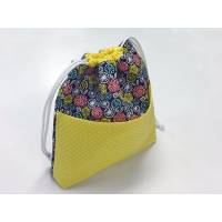 Spinderella - Drawstring Project Bag w/ pocket, Flowers and Dots